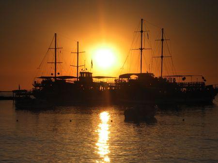 Sea sunset. Ship photo