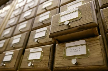 card catalogue: Library catalog, archive, a box file, a card search Stock Photo