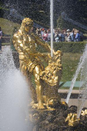 Fountain in Petrodvorets (Peterhof), St Petersburg, Russia. photo