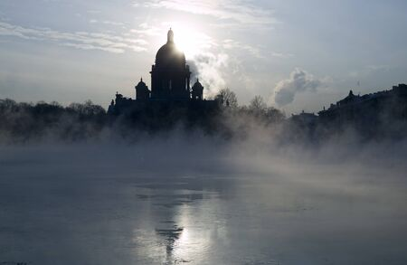 piter: Winter on Niva river. cold weather. Saint Isaacs Cathedral Stock Photo