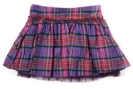 whote: rumpled checkered short skirt on whote background