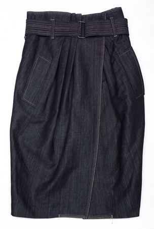 Womens Denim skirt. Isolated object on a white background. photo