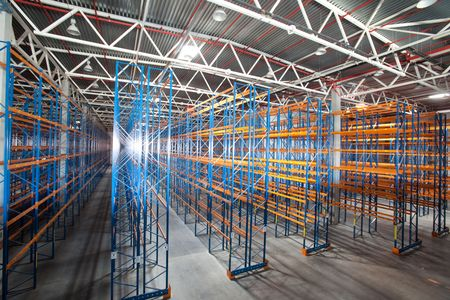 warehouse equipment: Interior of a modern warehouse ,clean and empty