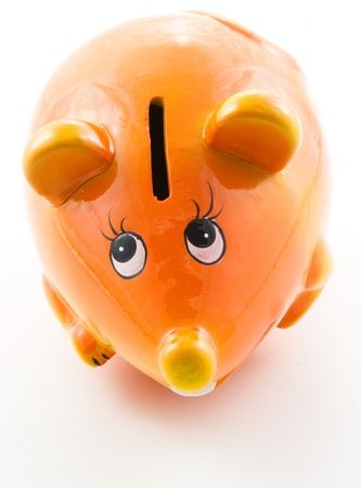 miserly: Ceramic moneybox. Toy mouse. On a white background.