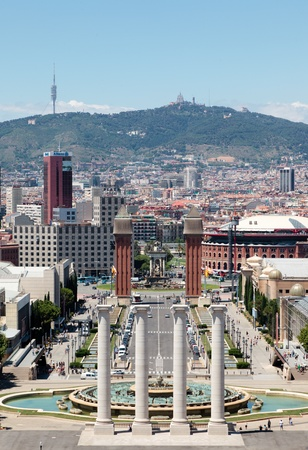 espana: Barcelona from Montjuic. Plaza de Espana.