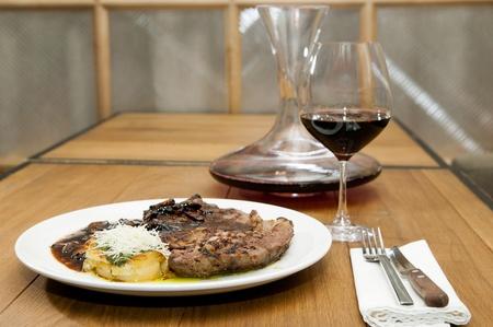 prepared potato: Steak and Prepared Potato. Nobody. Studio shot. Stock Photo