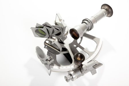 speculum: A sextant is an instrument used to measure the angle between any two visible objects  Stock Photo