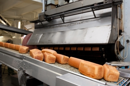 Bread bakery food factory. White bread. loaf