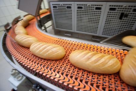 transportador: Pan f�brica de alimentos de panader�a. El pan blanco. pan Foto de archivo