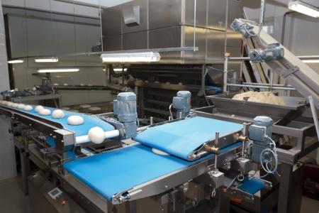 빵 빵집 식품 공장. 흰 빵. 덩어리 스톡 콘텐츠