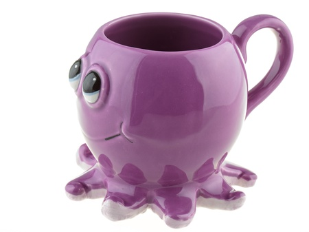 whote: Cup in the shape of an octopus on the whote background