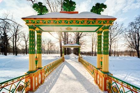 tsarskoye: Russian winter China bidge in the Alexander Park  Pushkin  Tsarskoye Selo  Stock Photo