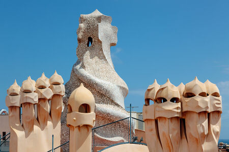 BARCELONA - JULY 18: Abstract chimey of Casa Mila (La Pedrera) on JULY 18, 2011 in Barcelona, Spain. La Pedrera was built in 1906-1910 by the most famous catalan architect Anthoni Gaudi. Editorial