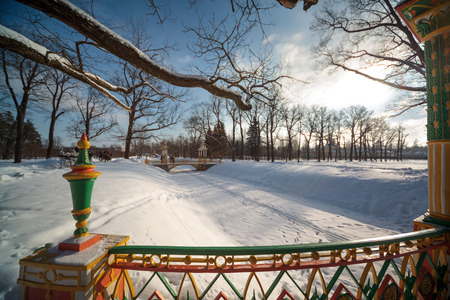 tsarskoye: Russian winter.China bidge in the Alexander Park. Pushkin. Tsarskoye Selo.