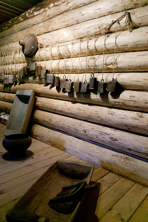 peasant: Vintage peasant items. Russia, Leningrad Region, Podporozhsky. In Mandrogi, a crafts village on the Svir river.