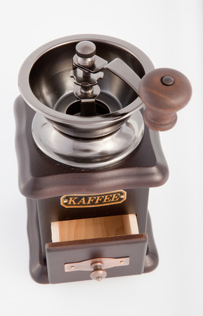 outmoded: Retro Coffee grinder on the white background