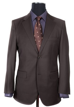 violaceous: Dummy on white background. Brown suit Stock Photo