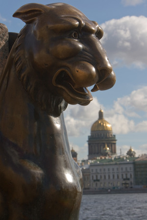 piter: Griffin - bronze winged lions in front of the Academy of Arts. St. Petersburg. Russia Stock Photo