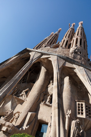 gaud: BARCELONA, SPAIN - JULY 07: La Sagrada Familia - the impressive cathedral designed by Gaudi, which is being build since 1882 and is not finished yet July 07, 2011 in Barcelona, Spain.