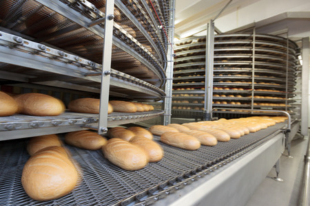 factory automation: Bread bakery food factory.