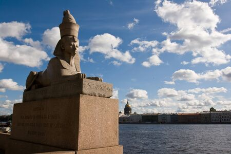st  petersburg: The stone sculpture of the sphinx found during the excavations in the Thebes, the capital of the ancient Egypt, had been install Stock Photo