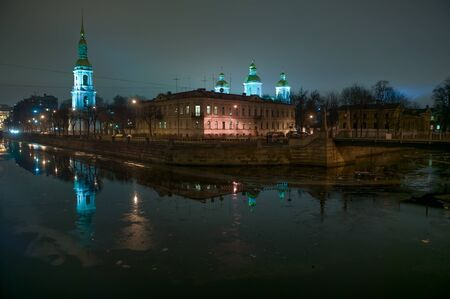 nightscene: St Nicholas Cathedral The intersection of Kryukov Canal and Griboyedov Canal St Petersburg Russia