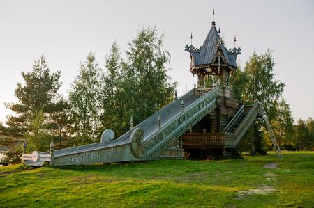 architectural exteriors: Russia, Leningrad Region, Podporozhsky. In Mandrogi, a crafts village on the Svir river.