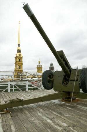 notify: large gun  of the Peter and Paul Fortress which by tradition notify city on approach twelve oclock in the daytime Editorial