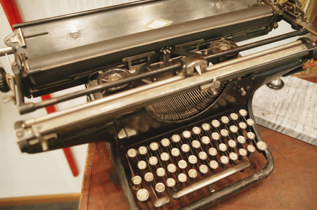 qwerty: A printing press is a mechanical device for applying pressure to an inked surface Stock Photo