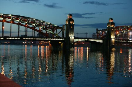 romance sky: Peter the Great Bridge. Bolsheohtinskiy bridge.