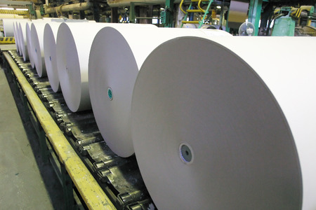 production plant: Paper and pulp mill plant - Rolls of cardboard Stock Photo