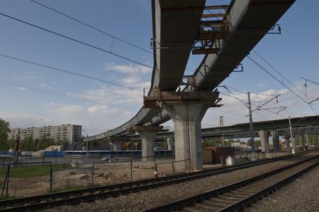 overpass: Overpass. Construction of high-speed motorway