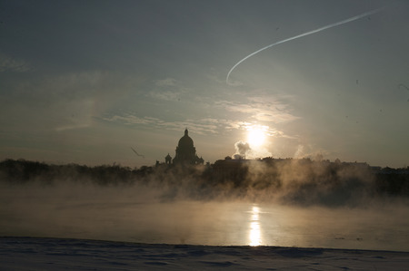 winter weather: Winter on Niva river. cold weather. Saint Isaacs Cathedral Editorial