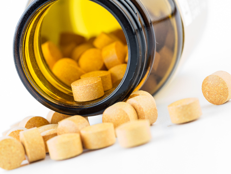 Bottle with pills. Stock Photo