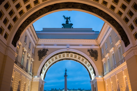 nightscene: St. Petersburg. Evening. View of the Alexander Column through the arch of the General Staff.