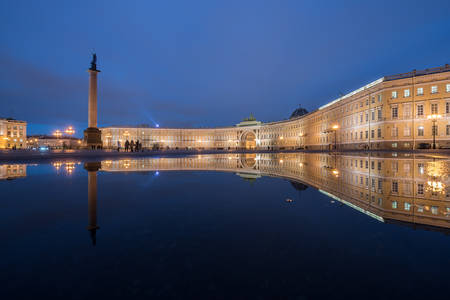 nightscene: St. Petersburg. Palace Square. Evening. Reflection of the General Staff building.