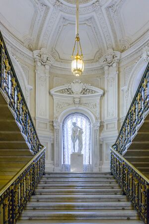 history architecture: Saint Petersburg, Russia - July 14 2016.  Rumyantsevs mansion on the English Embankment. The main staircase. on July 14, 2016 in Saint Petersburg, Russia.