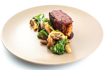 morsel: Bacon with mushrooms and spinach Stock Photo