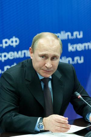 Saint Petersburg, Russia - November 22 2013.  President of the Russian Federation Vladimir  Putin during his visit to JSC Klimov - a leading developer of gas turbine engines
