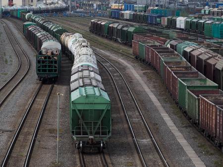 Saint Petersburg, Russia - May 4 2017.  Railway station Sortirovochno-Moscow. Editorial