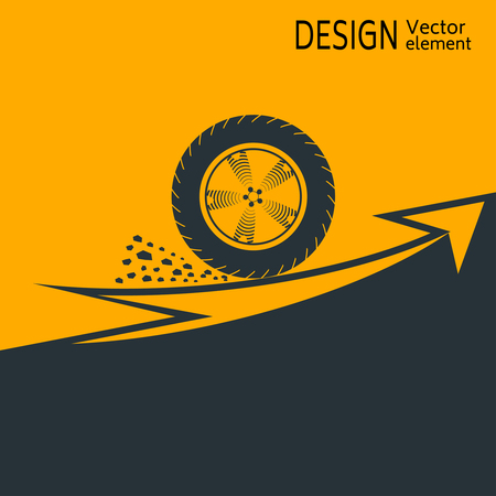 The concept start up. The wheel making a sharp start, on a yellow background, moves in the direction of arrow.
