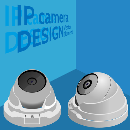Security camera. Web  surveillance camera. Isometric vector illutration. Visual aid.