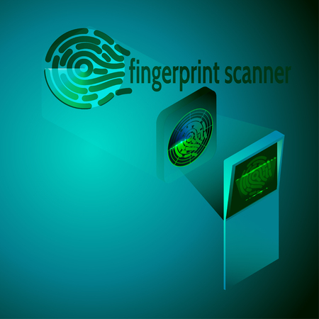 Fingerprint scanning Identification system. Biometric authorization and business security concept. Isometric illustration. Vectores