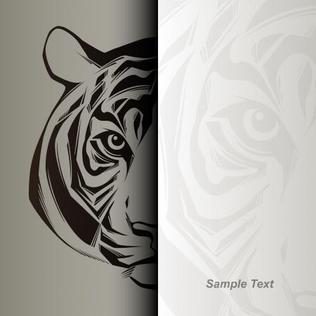 siberian tiger: Tiger head illustration