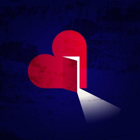 new day: Illustrazione creativa di un cuore con la porta aperta e la luce interna Vettoriali