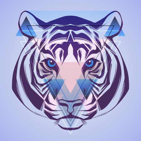 Tiger  Hipster style  Vector  Vector