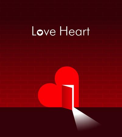 Heart with an open door in it  Creative illustration  Vector