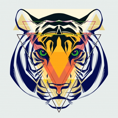 Fashion illustration of tiger head   Vector