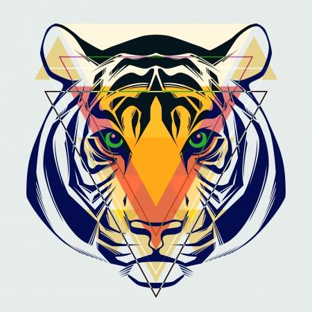 geometric patterns: Fashion illustration of tiger head