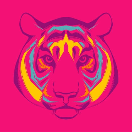 Awesome portrait of tiger  Vector
